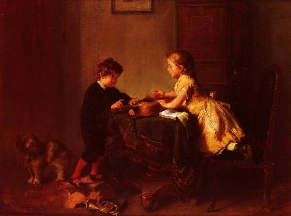 Children Playing With A Guitar